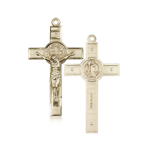14kt Yellow Gold 1 3/4in St Benedict Crucifix