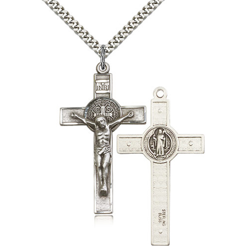 Sterling Silver 1 3/4in St Benedict Crucifix & 24in Chain