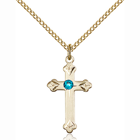 Gold Filled 3/4in Cross Pendant with 3mm Zircon Bead & 18in Chain
