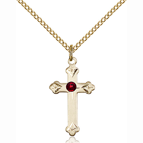 Gold Filled 3/4in Cross Pendant with 3mm Garnet Bead & 18in Chain
