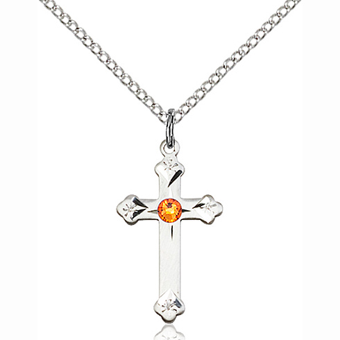 Sterling Silver 3/4in Cross Pendant with 3mm Topaz Bead & 18in Chain