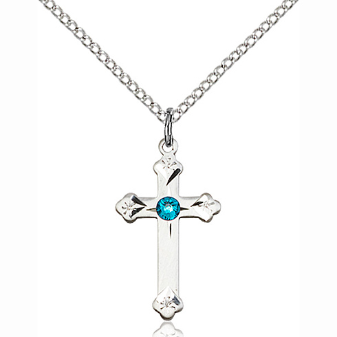 Sterling Silver 3/4in Cross Pendant with 3mm Zircon Bead & 18in Chain