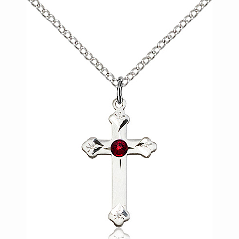 Sterling Silver 3/4in Cross Pendant with 3mm Garnet Bead & 18in Chain