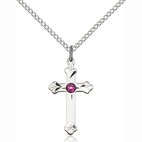 Sterling Silver 3/4in Cross Pendant with 3mm Amethyst Bead & 18in Chain