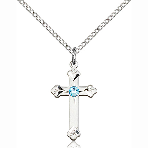 Sterling Silver 3/4in Cross Pendant with 3mm Aqua Bead & 18in Chain