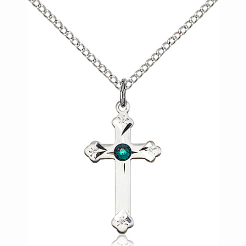 Sterling Silver 3/4in Cross Pendant with 3mm Emerald Bead & 18in Chain