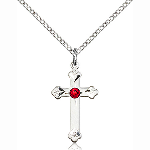 Sterling Silver 3/4in Cross Pendant with 3mm Ruby Bead & 18in Chain