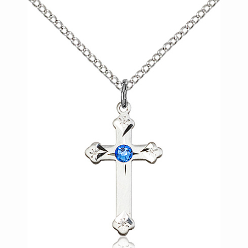 Sterling Silver 3/4in Cross Pendant with 3mm Sapphire Bead & 18in Chain