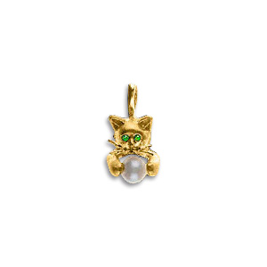 14KT Gold Crouching Kitten Pearl Pendant with Emerald Eyes