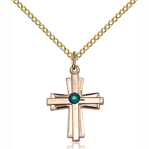 Gold Filled 3/4in Cross Pendant with 3mm Emerald Bead & 18in Chain