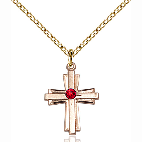 Gold Filled 3/4in Cross Pendant with 3mm Ruby Bead & 18in Chain
