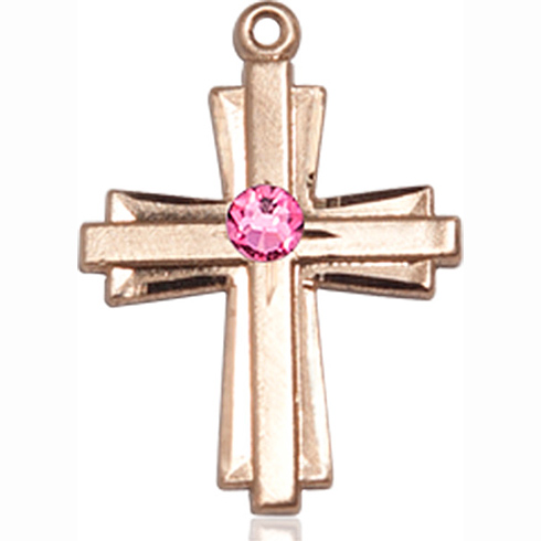 14kt Yellow Gold 3/4in Cross Pendant with 3mm Rose Bead