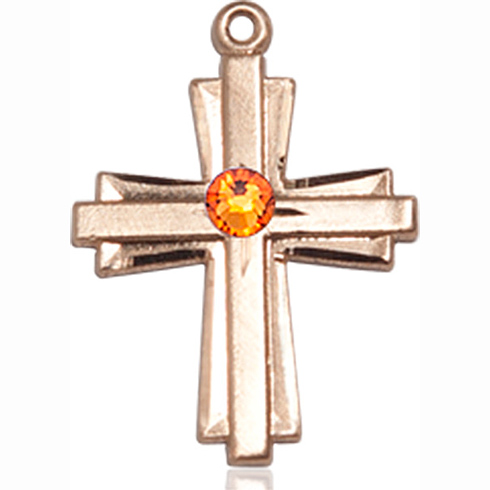 14kt Yellow Gold 3/4in Cross Pendant with 3mm Topaz Bead