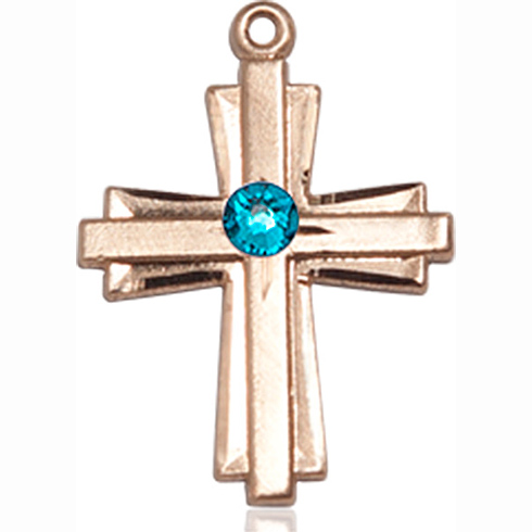 14kt Yellow Gold 3/4in Cross Pendant with 3mm Zircon Bead