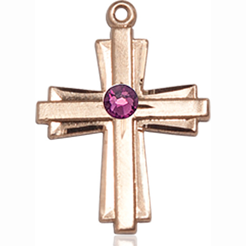 14kt Yellow Gold 3/4in Cross Pendant with 3mm Amethyst Bead