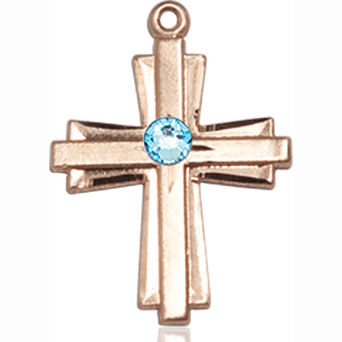14kt Yellow Gold 3/4in Cross Pendant with 3mm Aqua Bead