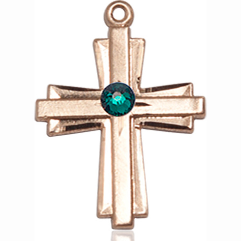 14kt Yellow Gold 3/4in Cross Pendant with 3mm Emerald Bead