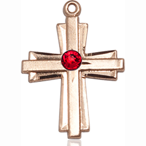 14kt Yellow Gold 3/4in Cross Pendant with 3mm Ruby Bead