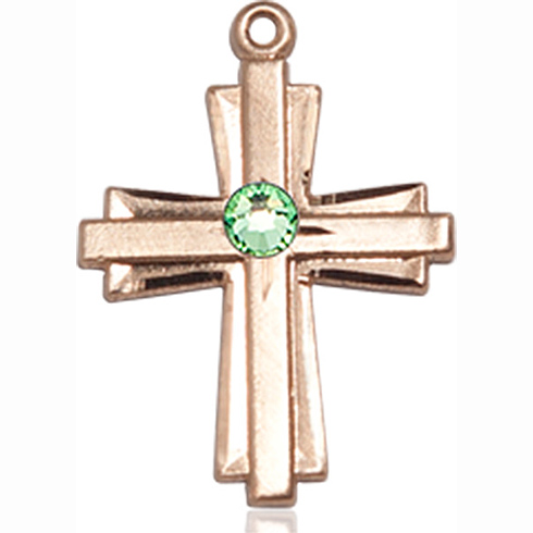 14kt Yellow Gold 3/4in Cross Pendant with 3mm Peridot Bead