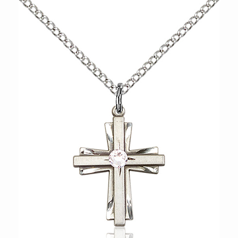 Sterling Silver 3/4in Cross Pendant with 3mm Crystal Bead & 18in Chain