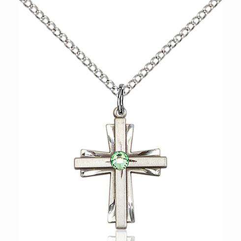 Sterling Silver 3/4in Cross Pendant with 3mm Peridot Bead & 18in Chain