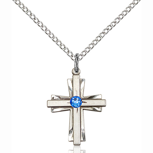 Sterling Silver 3/4in Bi-Level Cross with Sapphire Bead & 18in Chain