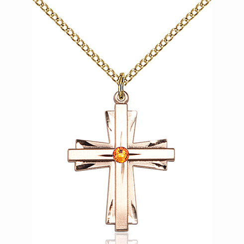Gold Filled 1in Cross Pendant with 3mm Topaz Bead & 18in Chain