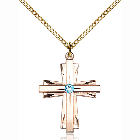Gold Filled 1in Cross Pendant with 3mm Aqua Bead & 18in Chain