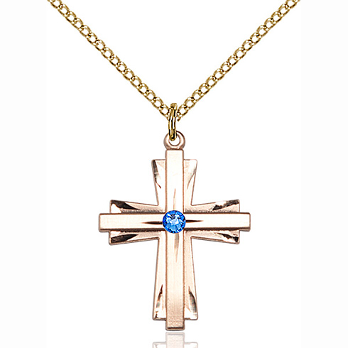 Gold Filled 1in Cross Pendant with 3mm Sapphire Bead & 18in Chain