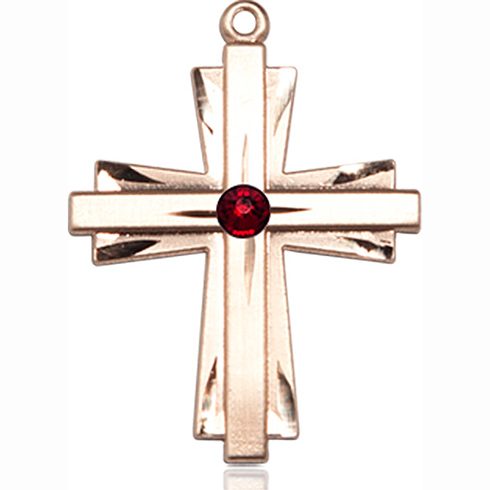 14kt Yellow Gold 1in Cross Pendant with 3mm Garnet Bead