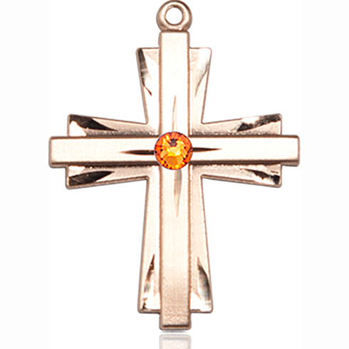 14kt Yellow Gold 1in Cross Pendant with 3mm Topaz Bead