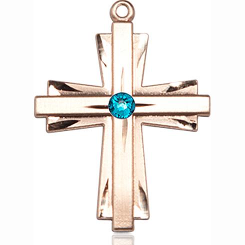14kt Yellow Gold 1in Cross Pendant with 3mm Zircon Bead