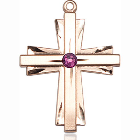 14kt Yellow Gold 1in Cross Pendant with 3mm Amethyst Bead