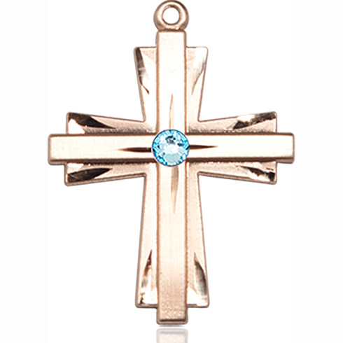 14kt Yellow Gold 1in Cross Pendant with 3mm Aqua Bead