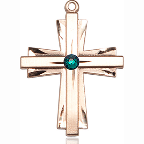 14kt Yellow Gold 1in Cross Pendant with 3mm Emerald Bead