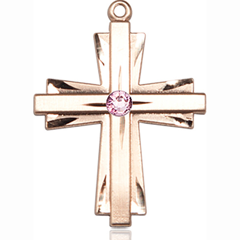 14kt Yellow Gold 1in Cross Pendant with 3mm Light Amethyst Bead