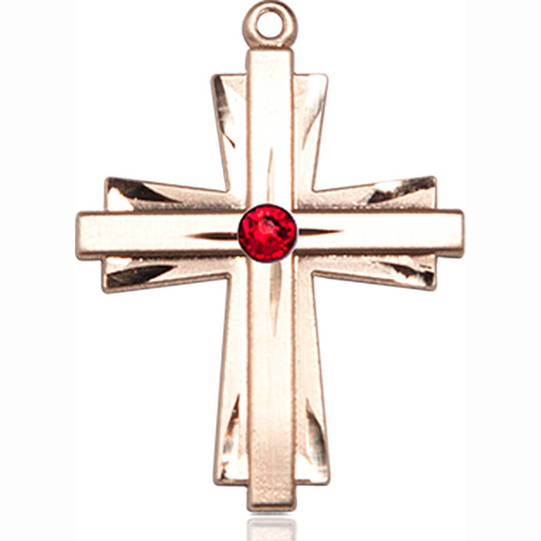 14kt Yellow Gold 1in Cross Pendant with 3mm Ruby Bead