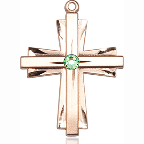 14kt Yellow Gold 1in Cross Pendant with 3mm Peridot Bead