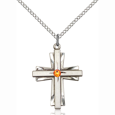 Sterling Silver 1in Cross Pendant with 3mm Topaz Bead & 18in Chain