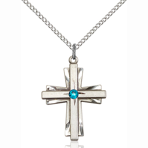 Sterling Silver 1in Cross Pendant with 3mm Zircon Bead & 18in Chain