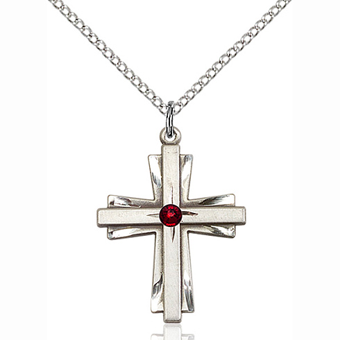 Sterling Silver 1in Cross Pendant with 3mm Garnet Bead & 18in Chain