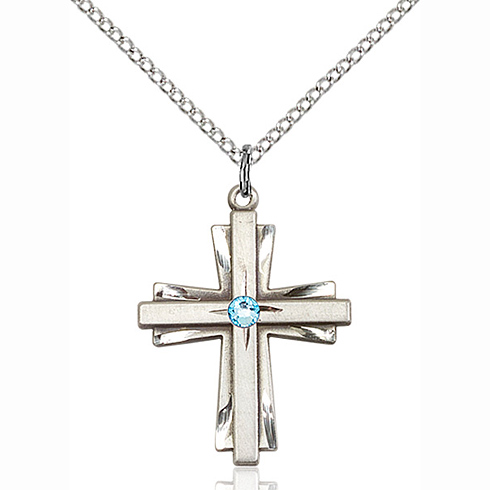 Sterling Silver 1in Cross Pendant with 3mm Aqua Bead & 18in Chain