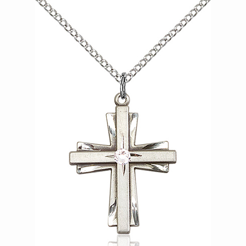 Sterling Silver 1in Cross Pendant with 3mm Crystal Bead & 18in Chain