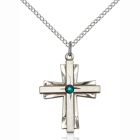 Sterling Silver 1in Cross Pendant with 3mm Emerald Bead & 18in Chain