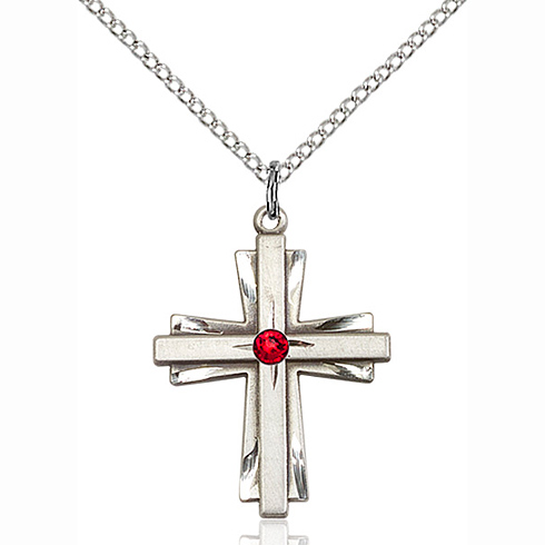 Sterling Silver 1in Cross Pendant with 3mm Ruby Bead & 18in Chain
