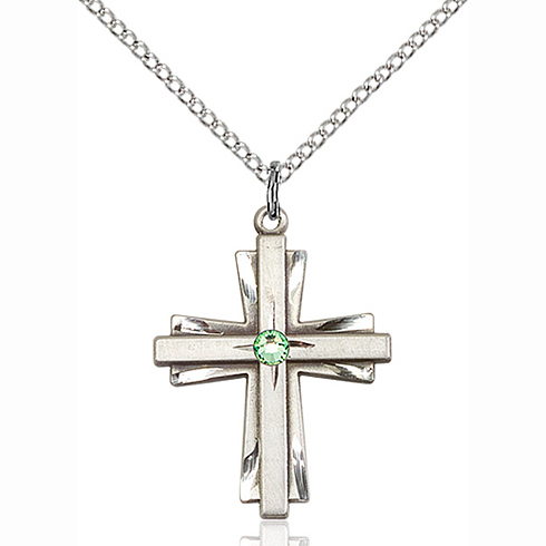 Sterling Silver 1in Cross Pendant with 3mm Peridot Bead & 18in Chain