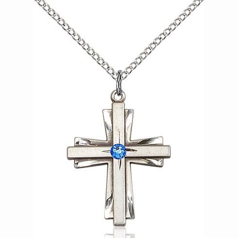 Sterling Silver 1in Cross Pendant with 3mm Sapphire Bead & 18in Chain