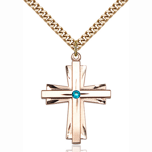 Gold Filled 1 1/4in Cross Pendant with 3mm Zircon Bead & 24in Chain