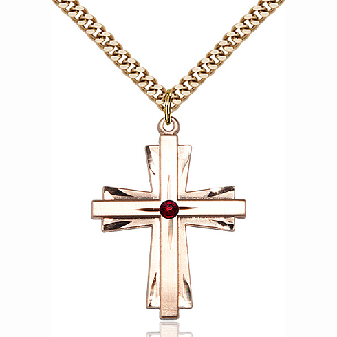 Gold Filled 1 1/4in Cross Pendant with 3mm Garnet Bead & 24in Chain