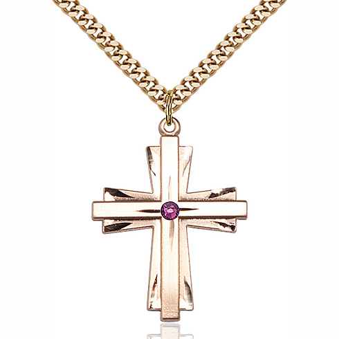Gold Filled 1 1/4in Cross Pendant with 3mm Amethyst Bead & 24in Chain
